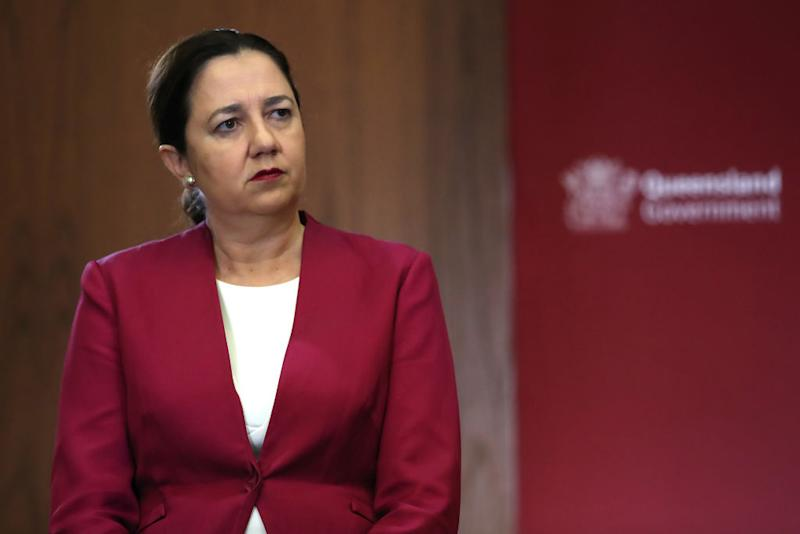 Queensland Premier Annastacia Palaszczuk attends a press conference at parliament house amid the coronavirus crisis.