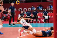 <p>USA's Justine Wong-Orantes hits the ball in the women's quarter-final volleyball match between USA and Dominican Republic during the Tokyo 2020 Olympic Games at Ariake Arena in Tokyo on August 4, 2021. (Photo by Yuri CORTEZ / AFP)</p>