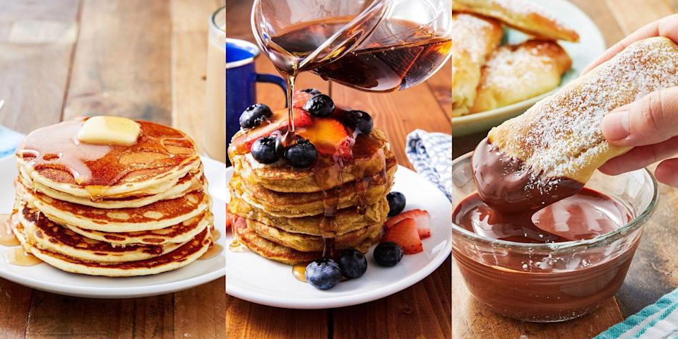 "<p>Shrove Tuesday is the one day of the year where it's acceptable to eat stacks and stacks of various pancakes. We're talking <a href=""https://www.delish.com/uk/cooking/recipes/a35286667/brownie-batter-pancakes-recipe/"" rel=""nofollow noopener"" target=""_blank"" data-ylk=""slk:Brownie Batter Pancakes"" class=""link rapid-noclick-resp"">Brownie Batter Pancakes</a>, <a href=""https://www.delish.com/uk/cooking/recipes/a32846563/how-to-make-blueberry-pancakes/"" rel=""nofollow noopener"" target=""_blank"" data-ylk=""slk:Blueberry Buttermilk Pancakes"" class=""link rapid-noclick-resp"">Blueberry Buttermilk Pancakes</a>, <a href=""https://www.delish.com/uk/cooking/recipes/a29245017/banana-pancake-dippers-recipe/"" rel=""nofollow noopener"" target=""_blank"" data-ylk=""slk:Banana Pancake Dippers"" class=""link rapid-noclick-resp"">Banana Pancake Dippers</a> and more! And it's not just Pancake Day you can treat yourself on. We're big believers in eating pancakes in the week leading up to Pancake Day, and the week after. Leaving you with plenty of time to experiment with all types of <a href=""https://www.delish.com/uk/cooking/recipes/g34723929/pancake-toppings/"" rel=""nofollow noopener"" target=""_blank"" data-ylk=""slk:toppings"" class=""link rapid-noclick-resp"">toppings</a> (sweet and <a href=""https://www.delish.com/uk/cooking/recipes/g30700304/savoury-pancakes/"" rel=""nofollow noopener"" target=""_blank"" data-ylk=""slk:savoury"" class=""link rapid-noclick-resp"">savoury</a>). But, if you're stuck for inspiration, we've pulled together our top-tier pancake recipes for you to give a go this year! </p><p>Fancy trying some healthier alternatives? We've got a bunch of <a href=""https://www.delish.com/uk/cooking/recipes/g34769835/healthy-pancakes/"" rel=""nofollow noopener"" target=""_blank"" data-ylk=""slk:Healthy Pancakes"" class=""link rapid-noclick-resp"">Healthy Pancakes</a>, too. </p>"