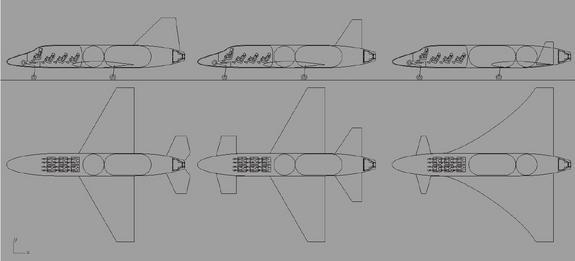 This graphic shows several concept ideas for the European Vinci suborbital space plane: From left to right: Concept 1, Concept 2 and Concept 3,