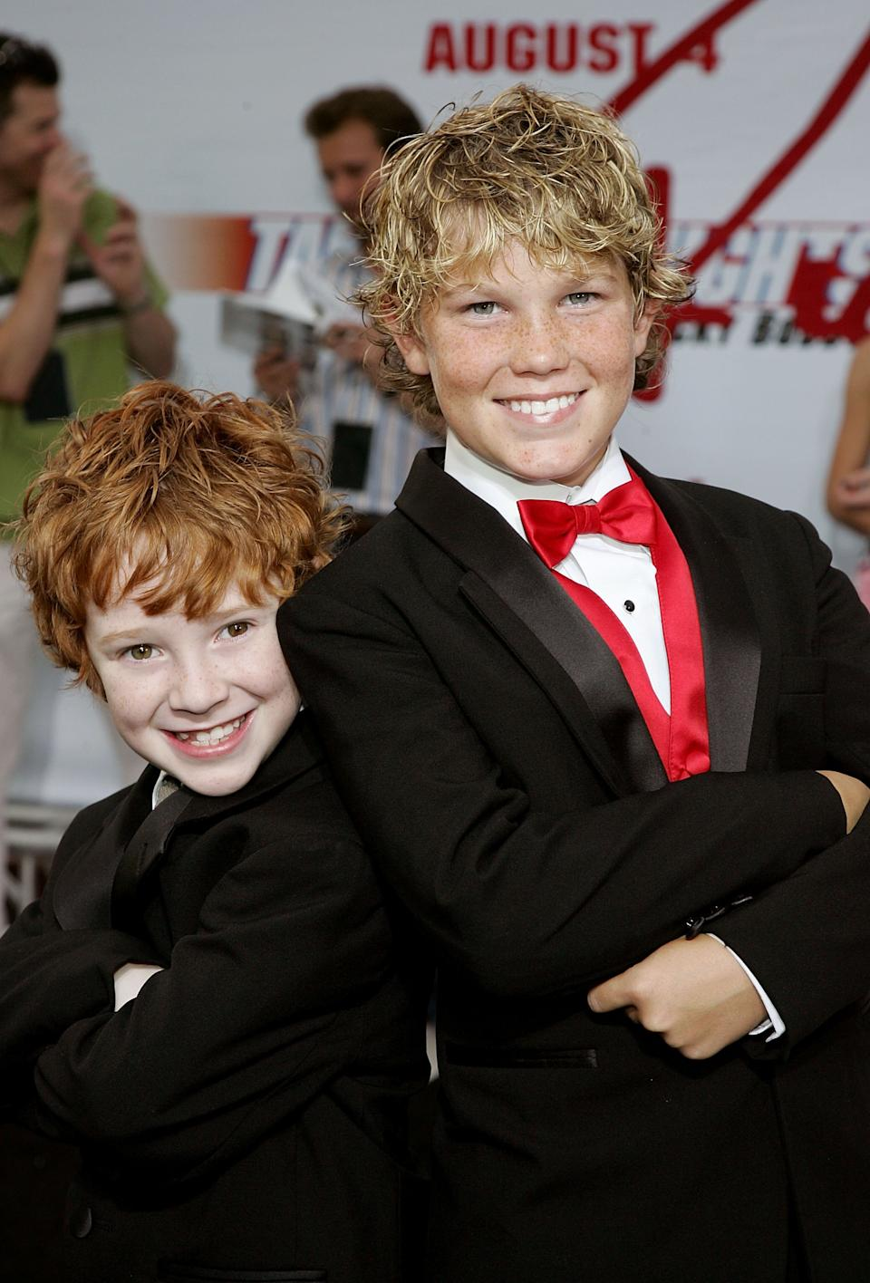 Actor Grayson Russell (L) and Houston Tumlin arrive at the premiere of