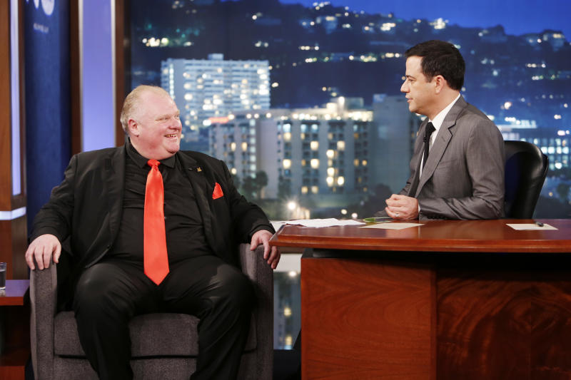 """This March 3, 2014 image released by ABC shows Toronto Mayor Rob Ford, left, with host Jimmy Kimmel on the late night talk show """"Jimmy Kimmel Live,"""" in Los Angeles. Ford laughed off Jimmy Kimmel's suggestion that he get help for his drinking problem and was reported to be upset about his appearance on the late-night TV talk show. Ford's appearance Monday night on """"Jimmy Kimmel Live"""" in Los Angeles was the culmination of months of wooing by the talk-show host to get Ford to appear as a guest. (AP Photo/ABC, Randy Holmes) J"""