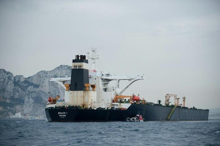The Grace 1 oil tanker was seized on July 4 by police and customs officers in Gibraltar (AFP Photo/JORGE GUERRERO)