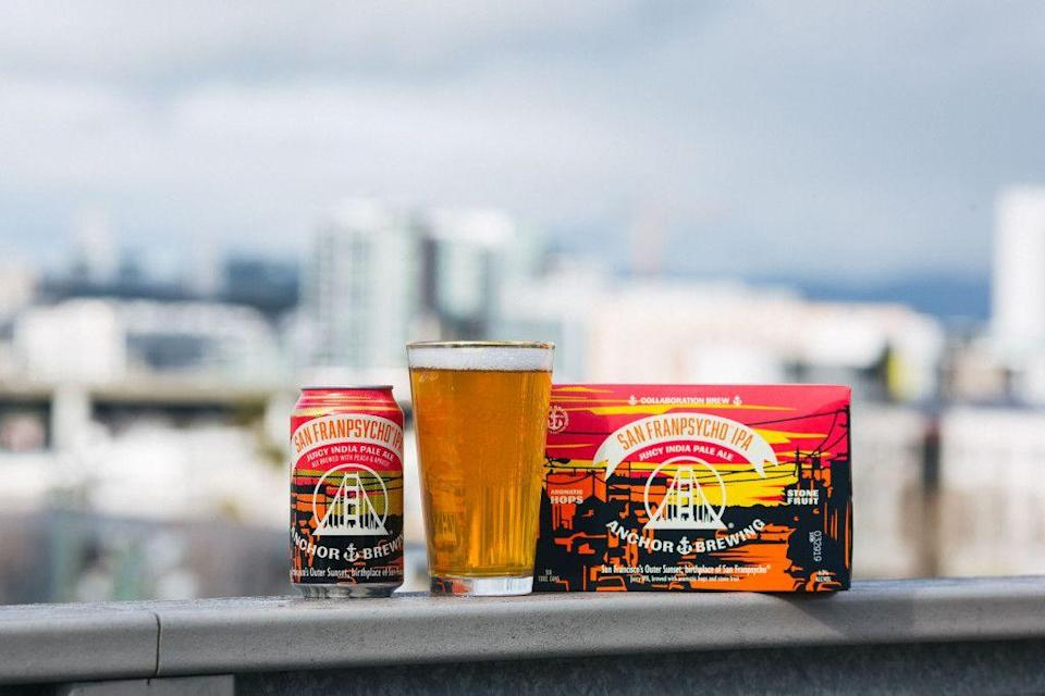 "<p>Anchor Brewing teamed up with local lifestyle brand San Franpsycho for the <a href=""https://www.anchorbrewing.com/beer/san_franpsycho_ipa"" rel=""nofollow noopener"" target=""_blank"" data-ylk=""slk:San Franpsycho IPA"" class=""link rapid-noclick-resp"">San Franpsycho IPA</a>. This juicy collab is brewed with peach and apricot. Drink, pretend you're on a trolley, repeat.</p>"