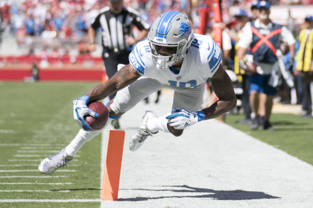 <p>Detroit Lions wide receiver Kenny Golladay (19) scores a touchdown against the San Francisco 49ers during the first quarter at Levi's Stadium. Mandatory Credit: Kyle Terada-USA TODAY Sports </p>