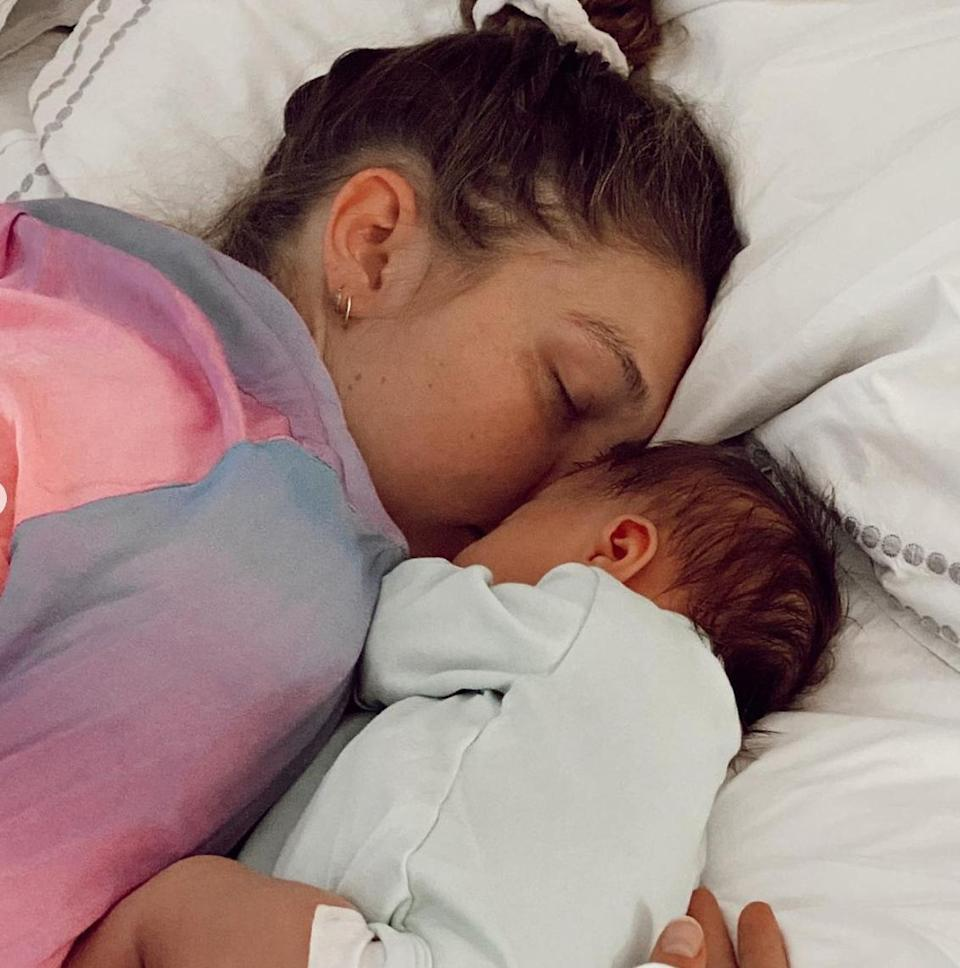 """<p>Hadid shared adorable photos with her daughter, Khai — whom she shares with boyfriend Zayn Malik — on Instagram in honor of her very first Mother's Day.</p> <p>She <a href=""""https://www.instagram.com/p/COp5Gywn-Tb/"""" rel=""""nofollow noopener"""" target=""""_blank"""" data-ylk=""""slk:captioned her pos"""" class=""""link rapid-noclick-resp"""">captioned her pos</a>t, """"The rumors are true: my best friend, purpose, muse, greatest pride & joy! I feel so lucky and inspired bein your mama, my Khai !! An old soul full of sunshine, you light up everyone's days! Thank you 🧡 thank you 💛 thank you 💕."""" </p>"""