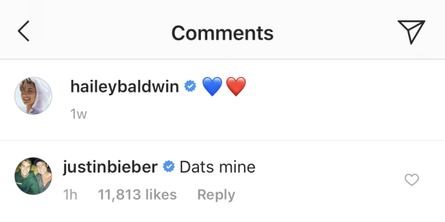 "Justin Bieber commented on Hailey Baldwin's Instagram, writing ""Dats mine."" (Photo: @haileybaldwin/Instagram)"