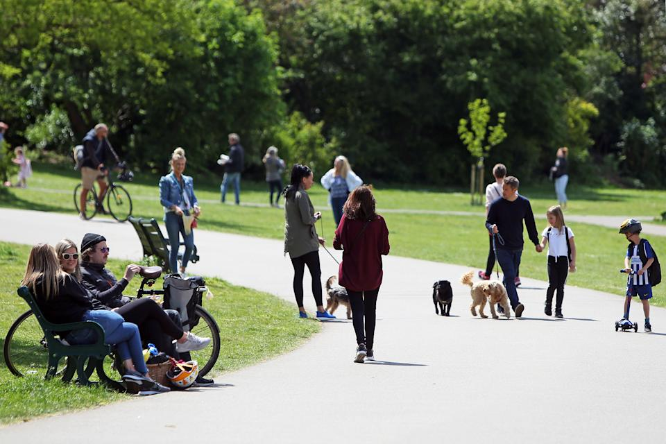 A general view of a busy footpath in Hove Park, near Brighton, as the UK continues in lockdown to curb the spread of Coronavirus during the pandemic.