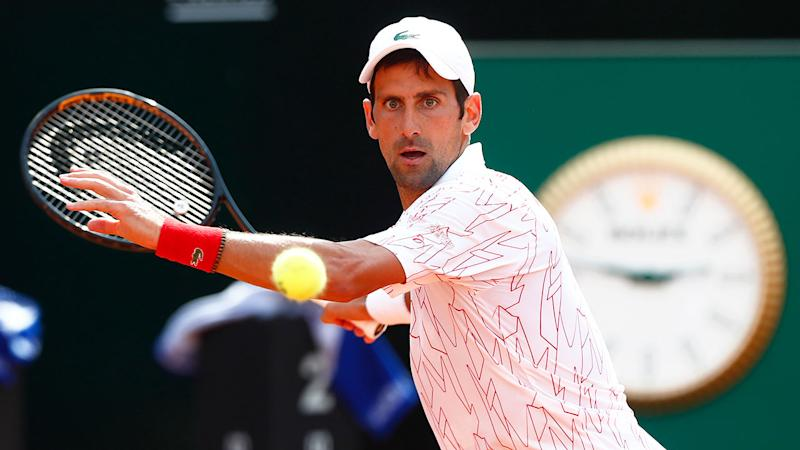 Djokovic is seen competing at the 2020 Italian Open.