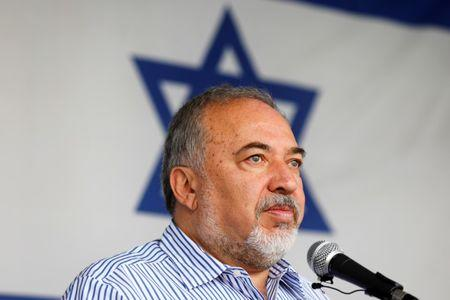 FILE PHOTO: Israeli Defense Minister Avigdor Lieberman visits Gaza's Kerem Shalom crossing, the strip's main commercial border terminal