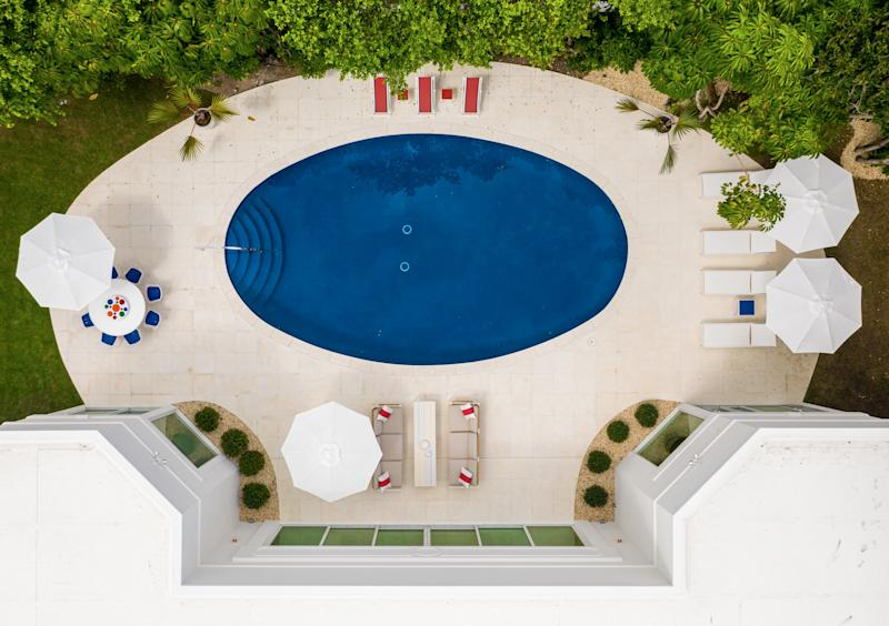 An aerial view of the pool area.