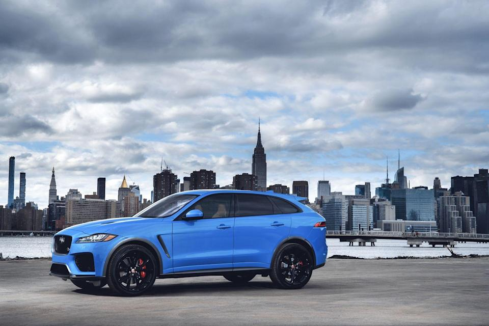 """<p>Although Jaguar was slow to the SUV game, it now offers three models, including the all-electric I-Pace. The F-Pace was the brand's first, and it remains its most powerful. In Jag-speak SVR means power and performance, and the <a href=""""https://www.caranddriver.com/jaguar/f-pace-svr"""" rel=""""nofollow noopener"""" target=""""_blank"""" data-ylk=""""slk:F-Pace SVR"""" class=""""link rapid-noclick-resp"""">F-Pace SVR</a> gets the same blown 5.0-liter V-8 and eight-speed automatic transmission as the aforementioned Land Rover Range Rover Velar SVAutobiography Dynamic Edition. Here the engine is also rated 550 horsepower and 502 lb-ft of torque. In our hands <a href=""""https://www.caranddriver.com/reviews/a27253535/2019-jaguar-f-pace-svr-first-drive/"""" rel=""""nofollow noopener"""" target=""""_blank"""" data-ylk=""""slk:zero-to-60 mph arrived in 4.0 seconds"""" class=""""link rapid-noclick-resp"""">zero-to-60 mph arrived in 4.0 seconds</a>. Jag claims a top speed of 176 mph.</p><p><a class=""""link rapid-noclick-resp"""" href=""""https://www.caranddriver.com/jaguar/f-pace-svr/specs"""" rel=""""nofollow noopener"""" target=""""_blank"""" data-ylk=""""slk:MORE F-PACE SVR SPECS"""">MORE F-PACE SVR SPECS</a></p>"""
