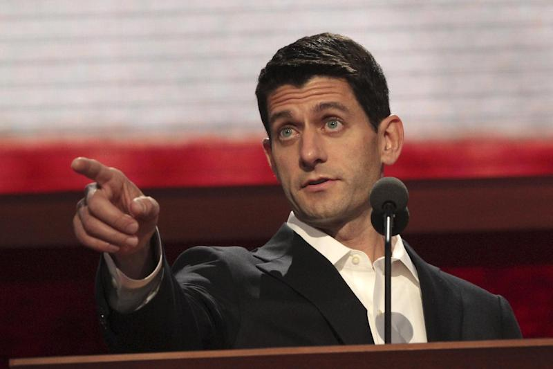 Republican vice presidential candidate, Rep. Paul Ryan, R-Wis. gestures during a walk through ahead of his delivering a speech at the Republican National Convention, Wednesday, Aug. 29, 2012 in Tampa, Fla. (AP Photo/Mary Altaffer)