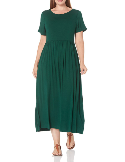 Amazon Essentials Women's Plus Size Short-Sleeve Waisted Maxi Dress. Image via Amazon.