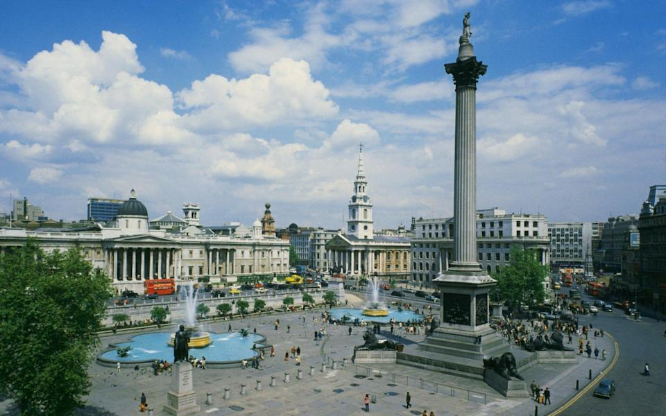A high angle view of Trafalgar Square and Nelson's Column, London, circa 1960. (Photo by Archive Photos/Getty Images)  - Getty