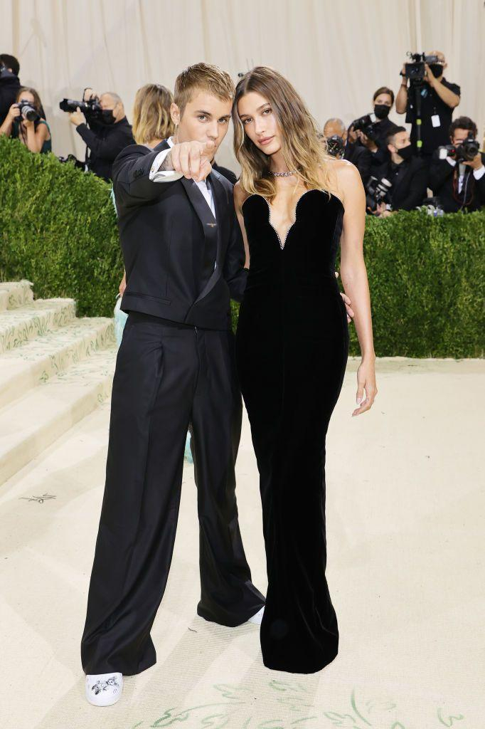 <p>The blonde married couple wore black with Justin in his own brand and Hailey in Saint Laurent.</p>