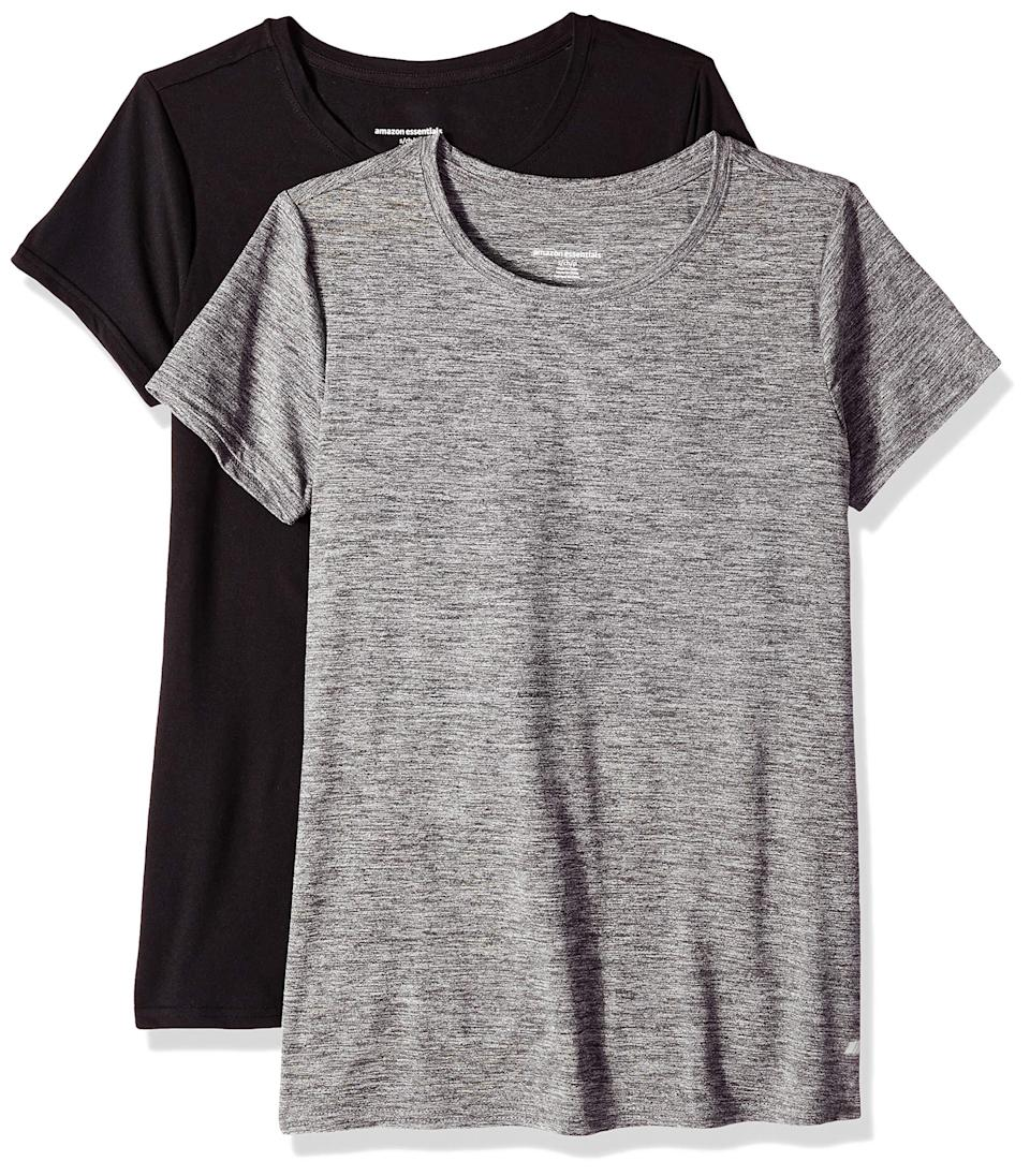 """<h3>Amazon Essentials Women's 2-Pack Tech Stretch Short-Sleeve Crewneck T-Shirt</h3> <br>Keep things cool with a short-sleeved cotton tee that you can wear underneath an optional jacket.<br><br><strong>Amazon Essentials</strong> 2-Pack Tech Stretch Short-Sleeve Crewneck T-Shirt, $, available at <a href=""""https://amzn.to/2ZbX73L"""" rel=""""nofollow noopener"""" target=""""_blank"""" data-ylk=""""slk:Amazon"""" class=""""link rapid-noclick-resp"""">Amazon</a><br>"""