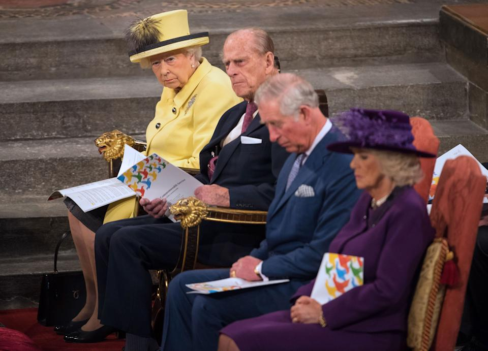 (L-R) Britain's Queen Elizabeth, Britain's Prince Philip, Duke of Edinburgh, Britain's Prince Charles, Prince of Wales and Britain's Camilla, Duchess of Cornwall attend a Commonwealth Service at Westminster Abbey in central London, on March 13, 2017. Queen Elizabeth II has been Head of the Commonwealth throughout her reign. Organised by the Royal Commonwealth Society, the Service is the largest annual inter-faith gathering in the United Kingdom. / AFP PHOTO / POOL / Dominic Lipinski        (Photo credit should read DOMINIC LIPINSKI/AFP via Getty Images)