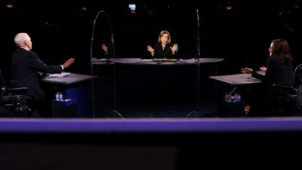 PHOTO: Vice President Mike Pence, Democratic vice presidential candidate Sen. Kamala Harris and moderator Susan Page all speak at the same time during the vice presidential debate, Oct. 7, 2020, at University of Utah in Salt Lake City. (Justin Sullivan/AP)