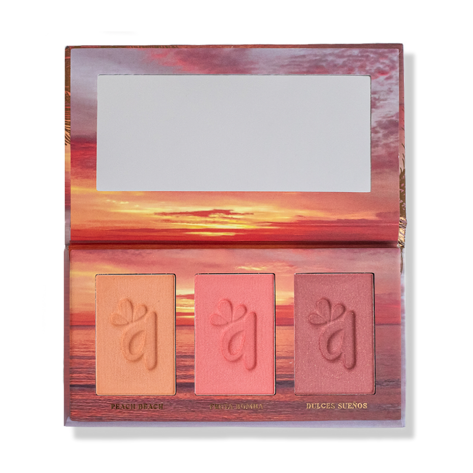 "<p><strong>Alamar Cosmetics</strong></p><p>alamarcosmetics.com</p><p><strong>$25.00</strong></p><p><a href=""https://alamarcosmetics.com/products/colorete-blush-trio-medium-tan-2"" rel=""nofollow noopener"" target=""_blank"" data-ylk=""slk:Shop Now"" class=""link rapid-noclick-resp"">Shop Now</a></p><p>Makeup artist Gabriela Trujillo follows three principles when creating new products: quality, pricing, and inclusivity. Her popular Colorete Blush Trio has a <strong>buttery-smooth and high pigmented formula</strong>. What's more, the shades are infused with hyaluronic acid for extra hydration.</p>"