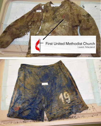 The victim was found wearing this gray United Methodist Church sweatshirt and these blue athletic shorts. (Montgomery County Police Department)