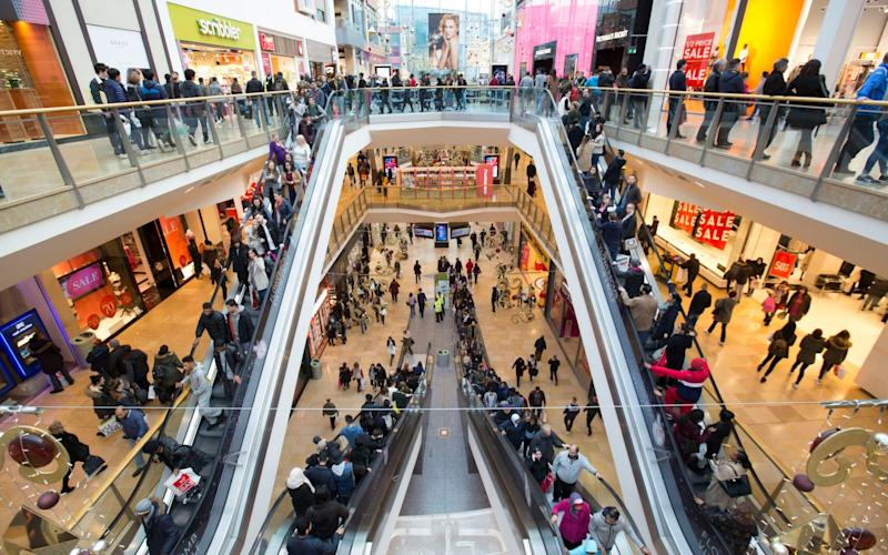 Shoppers in Hammerson's Bullring shopping centre in Birmingham - PA