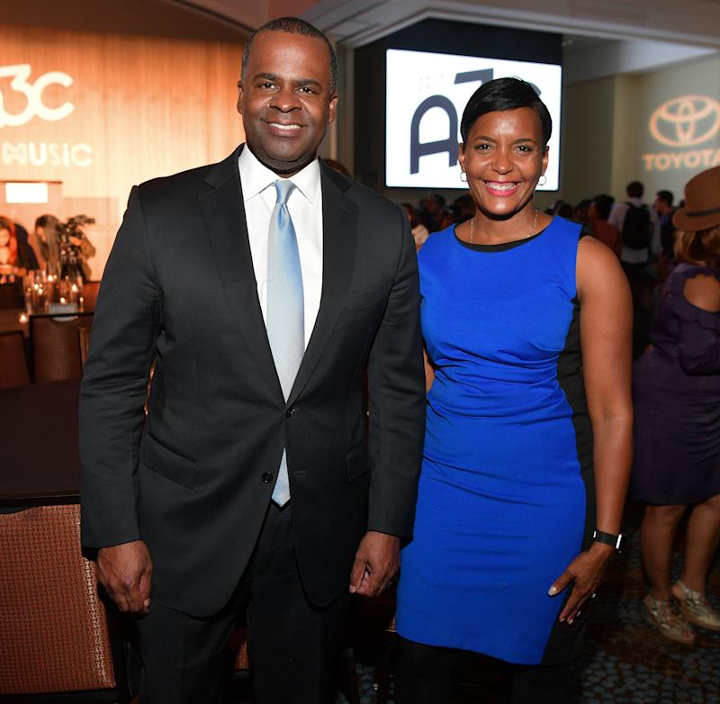 Mayor Kasim Reed attends a dinner with City Councilwoman Keisha Lance Bottoms in October. Reed's support for Bottoms has played an outsize role in the race.