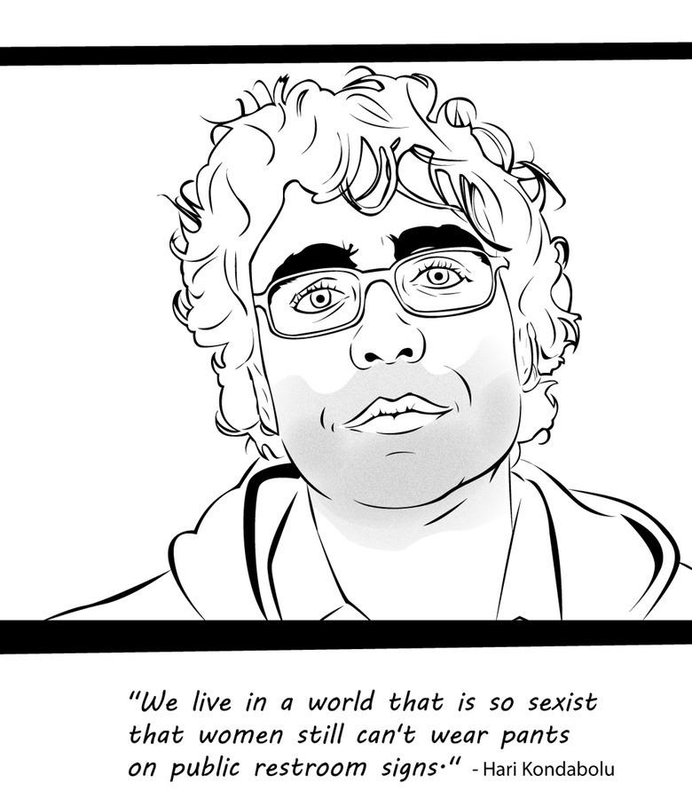 """<p>Comic <a href=""""http://www.harikondabolu.com/"""">Hari Kondabolu</a> – yes, a guy – raises an excellent point about all-too-common gender symbols embedding in our culture. <i>(Credit: <a href=""""https://www.kickstarter.com/projects/347021647/badass-feminist-coloring-book"""">Ijeoma Oluo via Kickstarter</a>)</i></p>"""