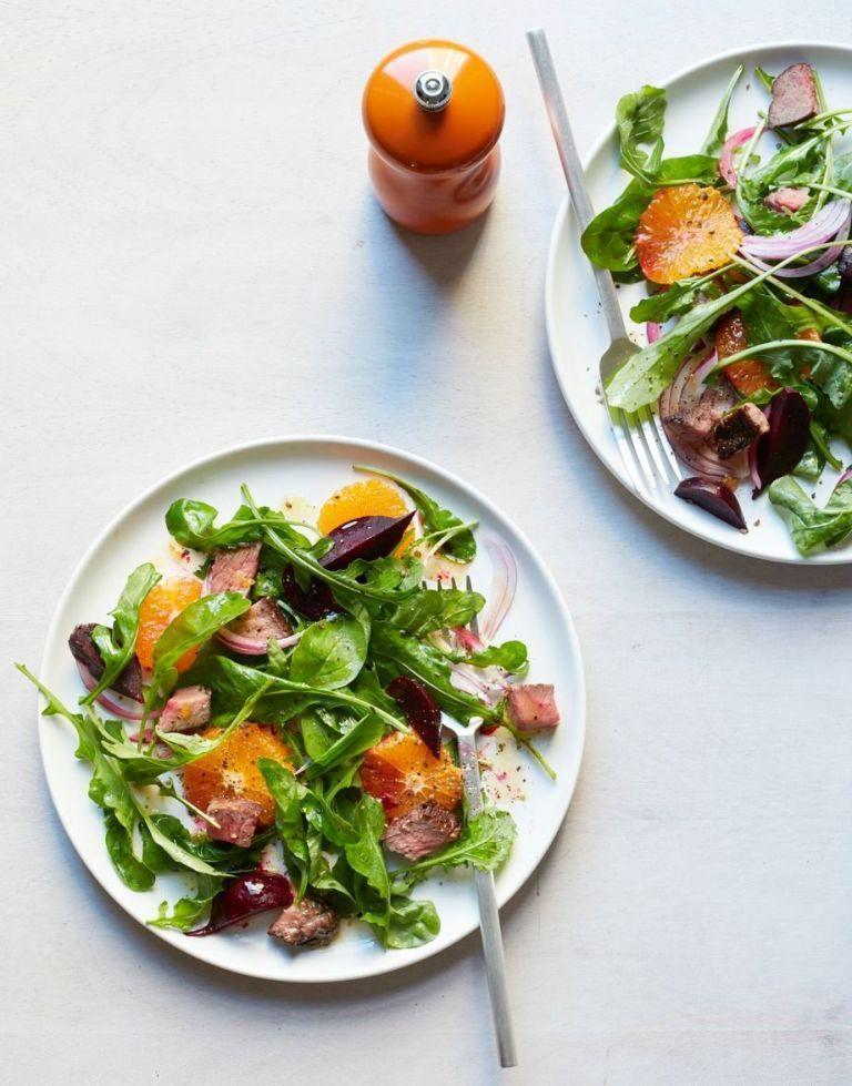 """<p>Instead of cutting all red meat from your diet in an effort to be healthier, you can limit your portion sizes and eat leaner cuts. By pairing steak with oranges and beats, it helps keep the salad light but still very satisfying. <br></p><p><em><a href=""""https://www.womansday.com/food-recipes/food-drinks/recipes/a53273/beet-tangerine-and-steak-salad/"""" rel=""""nofollow noopener"""" target=""""_blank"""" data-ylk=""""slk:Get the Beet, Tangerine, and Steak Salad recipe."""" class=""""link rapid-noclick-resp"""">Get the Beet, Tangerine, and Steak Salad recipe.</a></em></p>"""