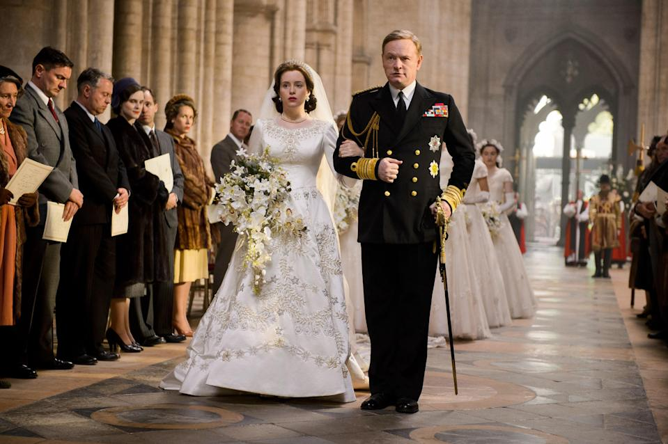 The wedding procession in <em>The Crown</em>. (Photo: Everett)