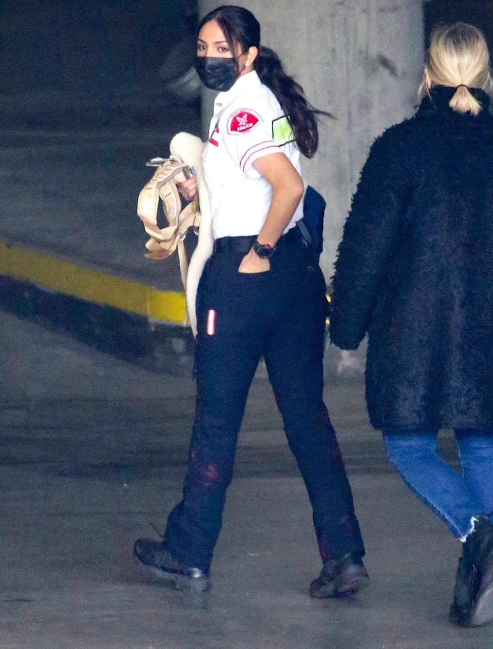 <p>Eiza González keeps it moving on the Los Angeles set of <em>Ambulance</em> on Thursday.</p>