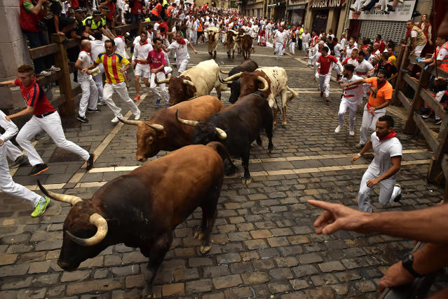 <p>Revellers run next to Nunez del Cuvillo's fighting bulls during the running of the bulls at the San Fermin Festival, in Pamplona, northern Spain, July 13, 2017. (Photo: Alvaro Barrientos/AP) </p>