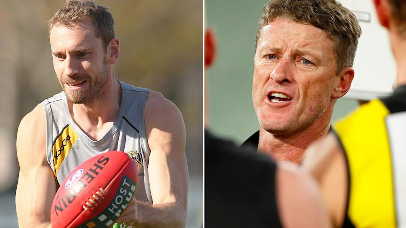 Pictured left is former Tigers player Shane Tuck Richmond coach Damien Hardwick on the right.