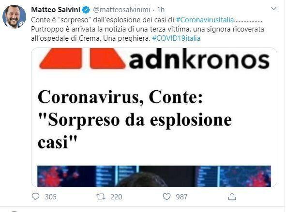 Tweet Salvini sul coronavirus (Photo: )