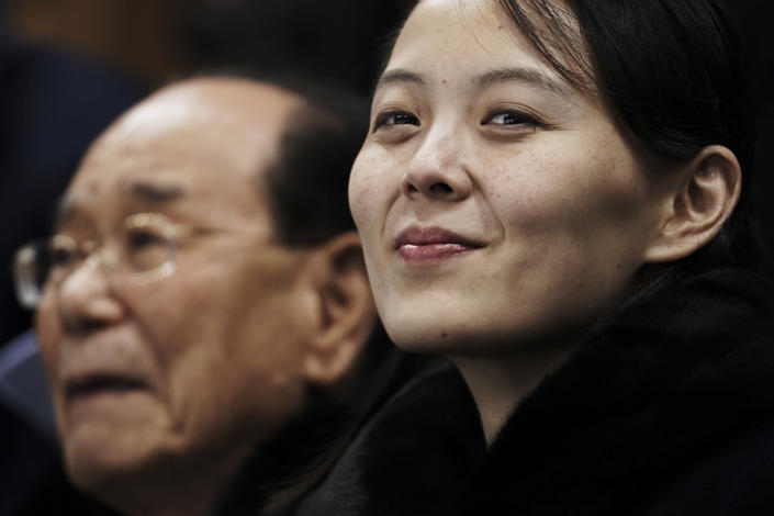 """FILE - In this Feb. 10, 2018, file photo, Kim Yo Jong, the sister of North Korean leader Kim Jong Un, waits with North Korea's nominal head of state, Kim Yong Nam, for the start of a women's hockey game at the 2018 Winter Olympics in Gangneung, South Korea. After giving the Biden administration the silent treatment for two months, North Korea this week marshalled two of the most powerful women in its leadership to warn Washington over combined military exercises with South Korea and the diplomatic consequences of its """"hostile"""" policies toward Pyongyang. (AP Photo/Felipe Dana, File)"""