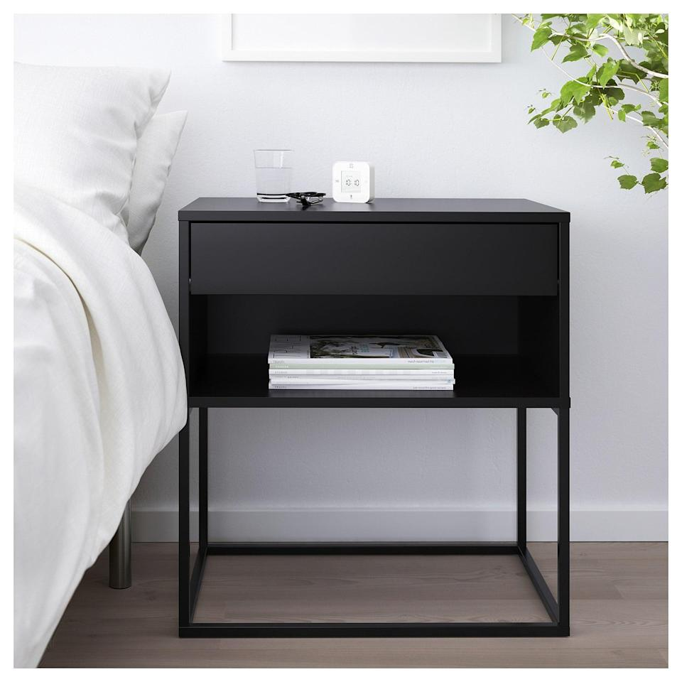 <p>The <span>Vikhammer Nightstand's</span> ($70) height is great for raised beds, and its convenient drawer and bookshelf will help keep your tabletop clutter-free!</p>