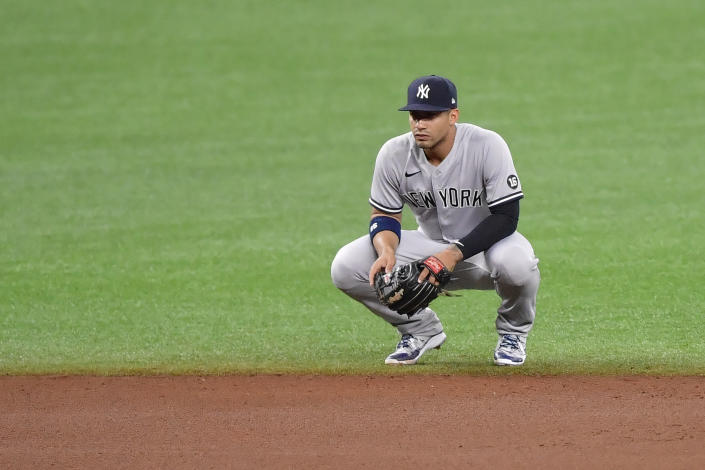 ST PETERSBURG, FLORIDA - MAY 11: Gleyber Torres #25 of the New York Yankees looks on during the fourth inning against the Tampa Bay Rays at Tropicana Field on May 11, 2021 in St Petersburg, Florida. (Photo by Douglas P. DeFelice/Getty Images)