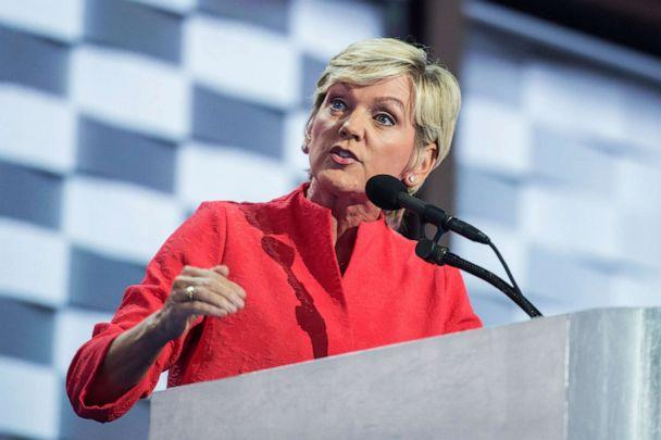 PHOTO: Jennifer Granholm addresses the crowd at the Wells Fargo Center in Philadelphia, Pa., on the final night of the Democratic National Convention, July 28, 2016. (Tom Williams/CQ-Roll Call via Getty Images, FILE)