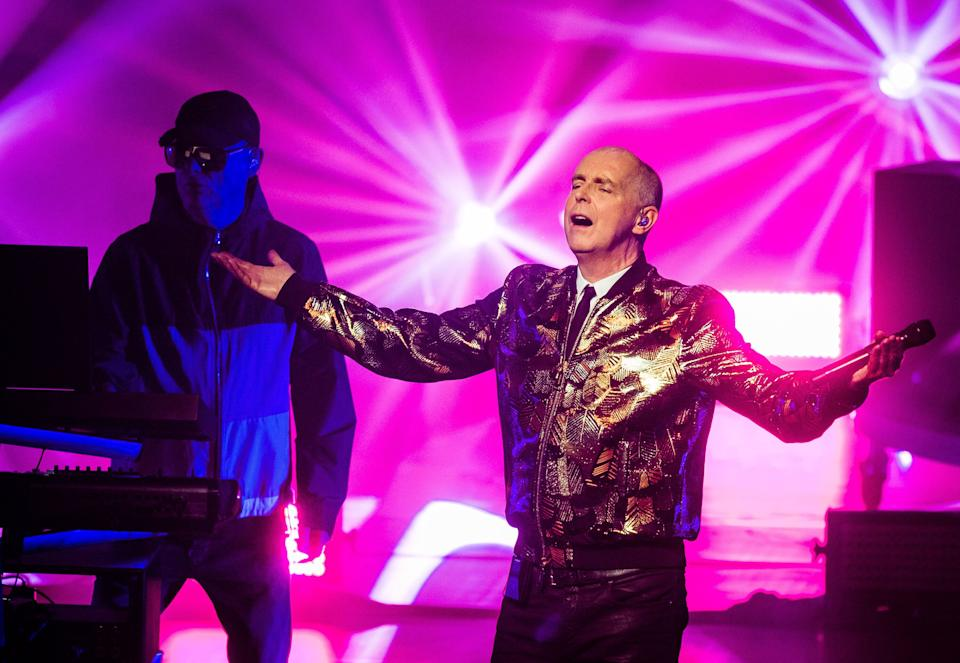 Neil Tennant (R) and Chris Lowe (L) of The Pet Shop Boys performing in 2018 (Photo: Samir Hussein via Getty Images)