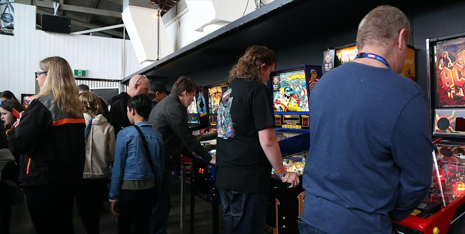 Pinball enthusiasts attend the West Coast Pinball Festival at the Old Pickle Factory on 19 September in Perth, Western Australia. Photo: Faith Moran/Wireimage