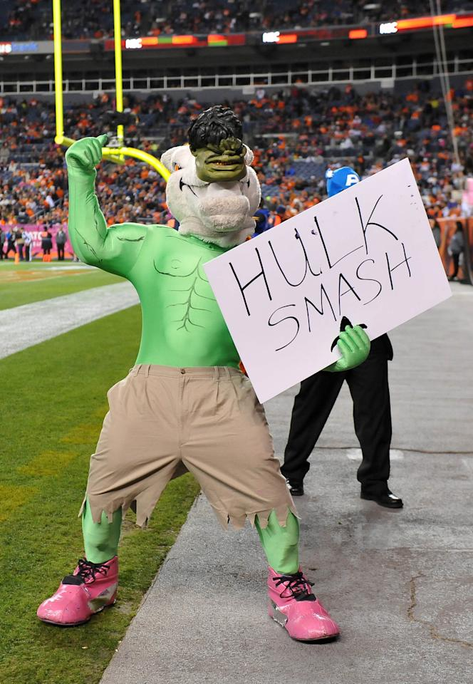 Oct 28 2012; Denver, CO, USA; Denver Broncos mascot dressed in a Hulk costume during the game against the New Orleans Saints at Sports Authority Field. The Broncos defeated the Saints 34-14. Mandatory Credit: Ron Chenoy-US PRESSWIRE