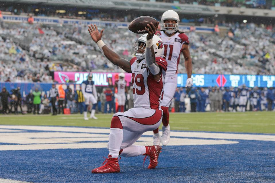 Oct 20, 2019; East Rutherford, NJ, USA; Arizona Cardinals running back Chase Edmonds (29) celebrates his third touchdown of the game against the New York Giants during the second half at MetLife Stadium. Mandatory Credit: Vincent Carchietta-USA TODAY Sports
