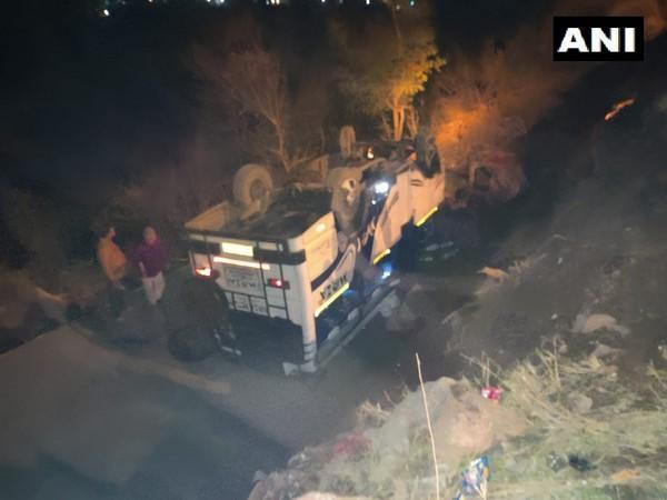 An accident took place near Chenani-Nashri Tunnel in Jammu and Kashmir on Saturday. (Photo/ANI)