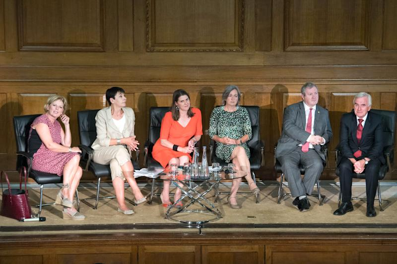 From left: Anna Soubry, Caroline Lucas, Jo Swinson, Liz Saville Roberts, Ian Blackford and John McDonnell during a meeting of a cross-party group of MPs at Church House, Westminster, where they will sign a declaration saying they will continue to meet as an alternative House of Commons if Prime Minister Boris Johnson temporarily shuts down Parliament to get a no-deal Brexit through.