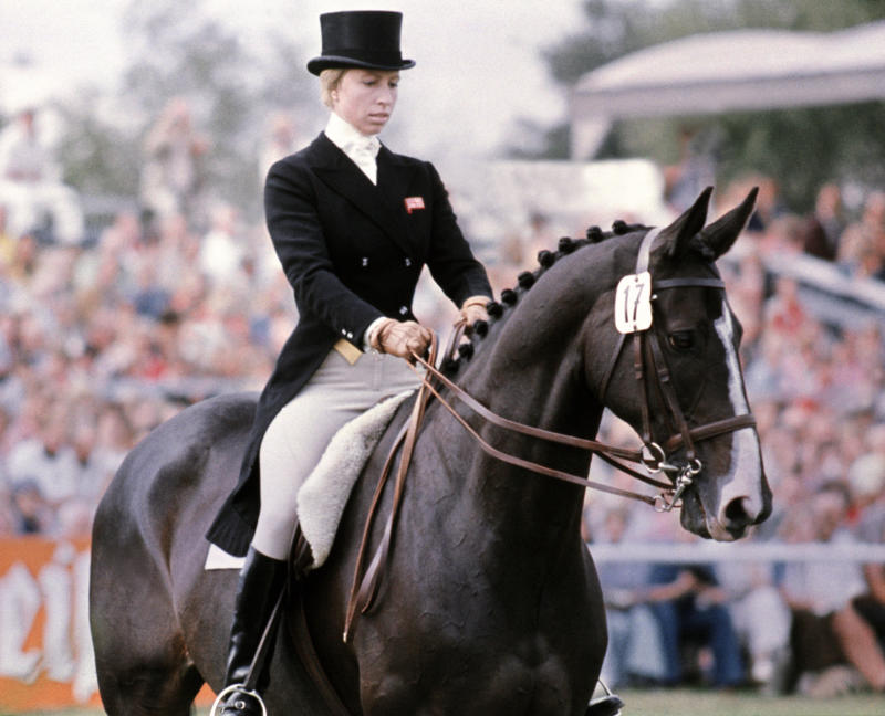 "GERMANY - JANUARY 1: Britain's Princess Anne rides her horse ""Goodwill"" during the dressage part of the European three-day Championship in Luhmuelen (Lower Saxony), in which she is taking part as a member of the British team, 08 September 1975. (Photo credit should read AFP/AFP via Getty Images)"