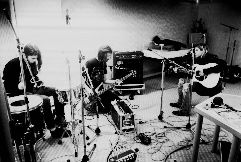 <p>While Nirvana recorded in 1991, the band was photographed during a recording session in Hilversum Studios in the Netherlands. </p>