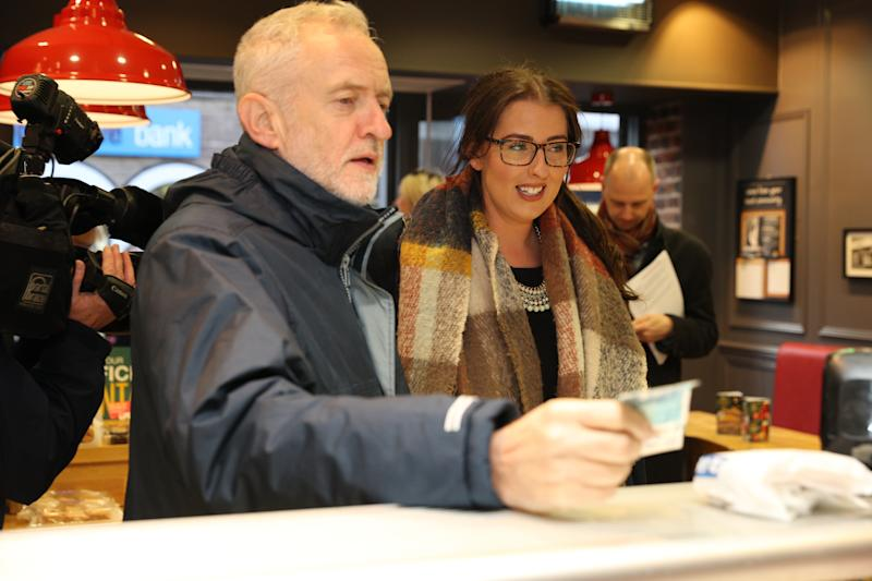 Labour leader Jeremy Corbyn and MP Laura Pidcock, meet staff in a bakery during a visit to Consett, County Durham.