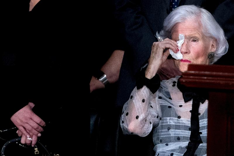 Roberta McCain, the 106-year-old mother of late US senator John McCain, is a maverick in her own right, having traveled the world and endured the anguish and turbulence of her son's political career and life (AFP Photo/Andrew Harnik)