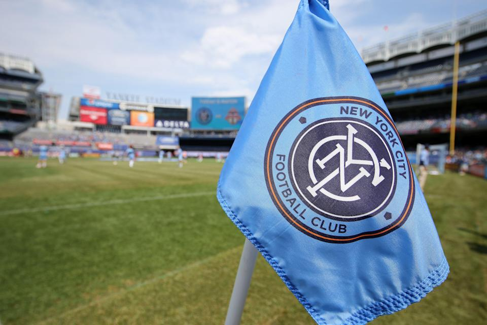 NEW YORK, NY - JULY 12: Logo of New York City on the corner flag in Yankee Stadiumduring the MLS match between Toronto FC and New York City at Yankee Stadium on July 12, 2015 in New York City. (Photo by Matthew Ashton - AMA/Getty Images)