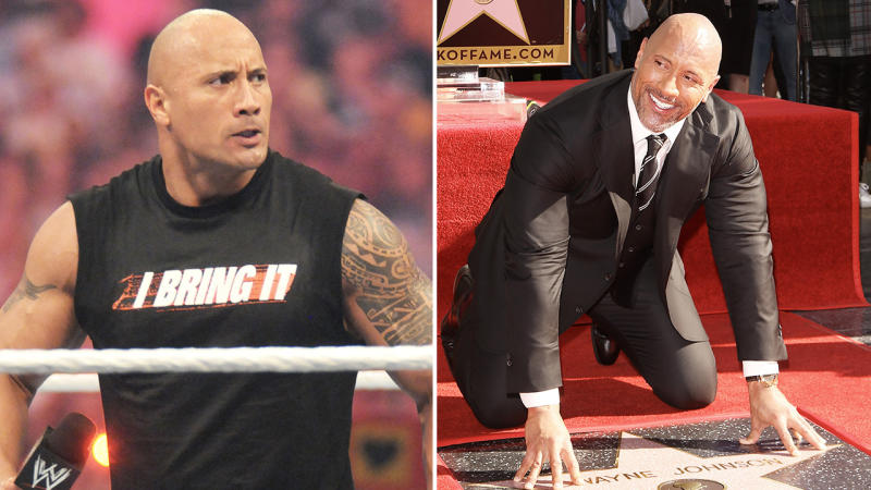 Dwayne 'The Rock' Johnson (pictured left) in the WWE ring and (pictured right) at the Hollywood Stars.
